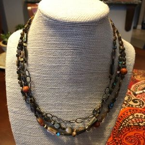 Silpada 3 strand coral abalone necklace